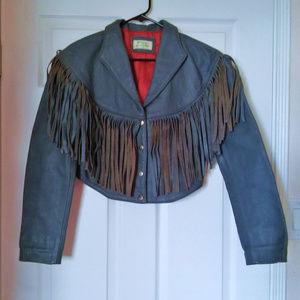 Vintage Fringe Leather Cropped Jacket